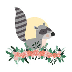 cute and adorable raccoon with floral decoration