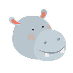 cute and adorable head hippo character