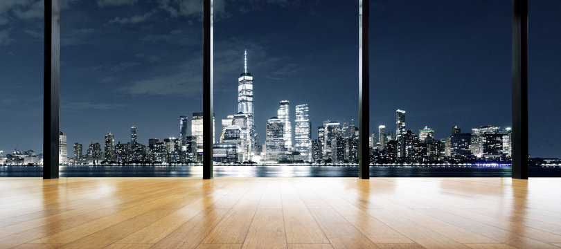 empty wooden floor with cityscape out of window