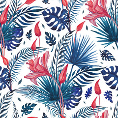 Tropical flowers Abstract Flower. Hand Drawn Floral Pattern. Seamless Watercolor illustration. Can...