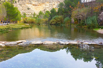 Thermal springs in late autumn in Montanejos, Spain. Canyon in the mountain with hot springs.