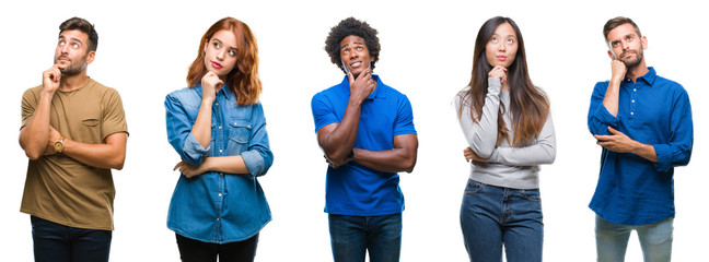 Composition of african american, hispanic and chinese group of people over isolated white background with hand on chin thinking about question, pensive expression. Smiling with thoughtful face