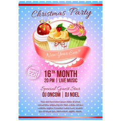 colorful christmas vintage poster cupcakes