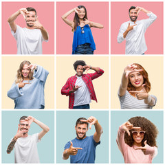 Collage of group of young people woman and men over colorful isolated background smiling making frame with hands and fingers with happy face. Creativity and photography concept.