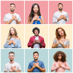 Collage of group of young people woman and men over colorful isolated background smiling with hands on chest with closed eyes and grateful gesture on face. Health concept.