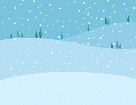Vector illustration of blue winter scenery background. Snow falling on the mountains landscape in winter image.