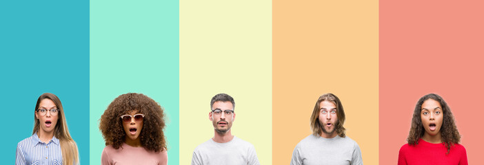 Collage of group of young people over colorful vintage isolated background afraid and shocked with surprise expression, fear and excited face.