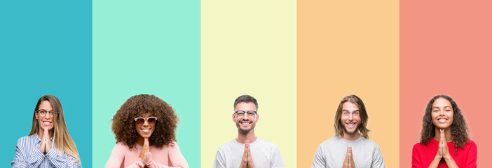 Fototapeta Collage of group of young people over colorful vintage isolated background praying with hands together asking for forgiveness smiling confident. obraz