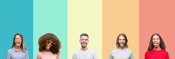 Collage of group of young people over colorful vintage isolated background sticking tongue out happy with funny expression. Emotion concept.