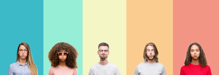 Collage of group of young people over colorful vintage isolated background puffing cheeks with funny face. Mouth inflated with air, crazy expression.