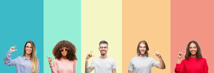 Collage of group of young people over colorful vintage isolated background smiling and confident gesturing with hand doing size sign with fingers while looking and the camera. Measure concept.