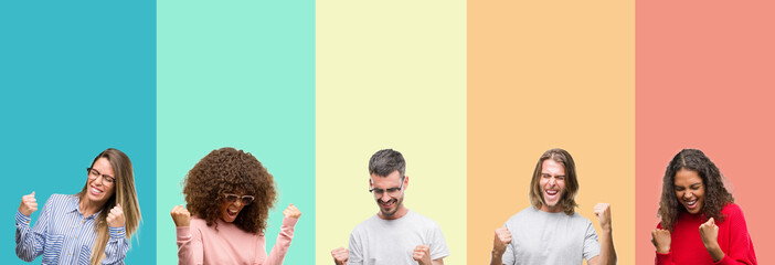 Collage of group of young people over colorful vintage isolated background very happy and excited doing winner gesture with arms raised, smiling and screaming for success. Celebration concept.