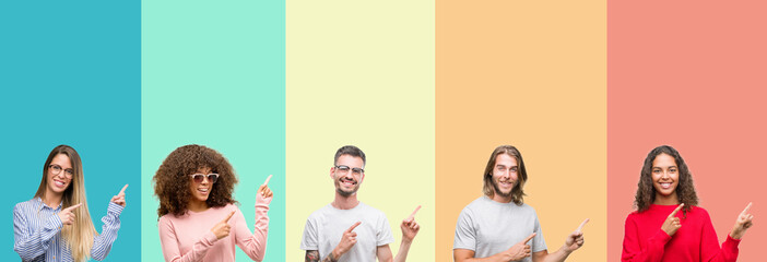 Collage of group of young people over colorful vintage isolated background smiling and looking at the camera pointing with two hands and fingers to the side.