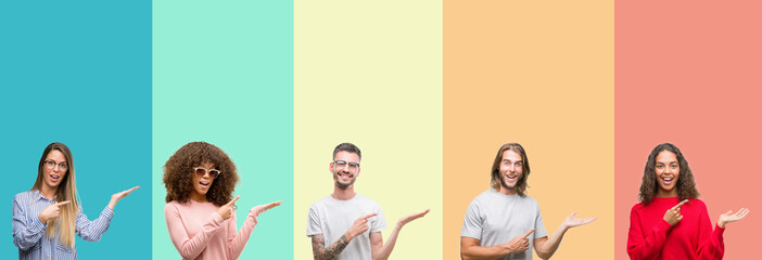 Collage of group of young people over colorful vintage isolated background amazed and smiling to the camera while presenting with hand and pointing with finger.