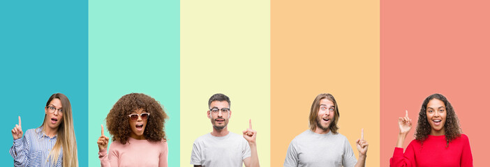 Collage of group of young people over colorful vintage isolated background pointing finger up with successful idea. Exited and happy. Number one.