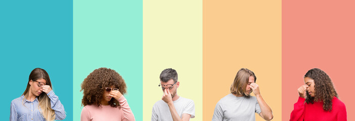 Collage of group of young people over colorful vintage isolated background tired rubbing nose and eyes feeling fatigue and headache. Stress and frustration concept.