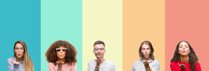 Collage of group of young people over colorful vintage isolated background looking at the camera blowing a kiss with hand on air being lovely and sexy. Love expression.