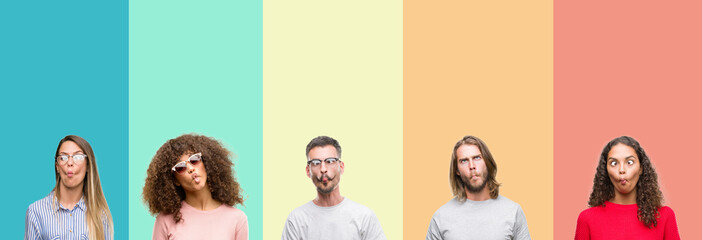 Collage of group of young people over colorful vintage isolated background making fish face with lips, crazy and comical gesture. Funny expression.