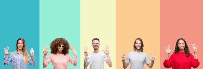 Collage of group of young people over colorful vintage isolated background showing and pointing up with fingers number nine while smiling confident and happy.