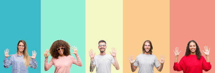 Collage of group of young people over colorful vintage isolated background showing and pointing up with fingers number ten while smiling confident and happy.
