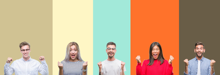 Collage of group of young people over colorful isolated background celebrating surprised and amazed for success with arms raised and open eyes. Winner concept.