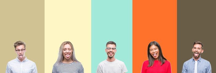Collage of group of young people over colorful isolated background sticking tongue out happy with funny expression. Emotion concept.