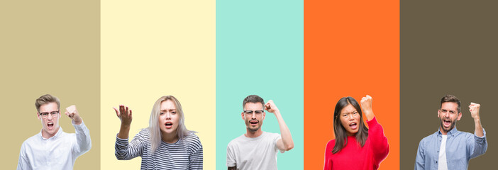 Collage of group of young people over colorful isolated background angry and mad raising fist frustrated and furious while shouting with anger. Rage and aggressive concept.