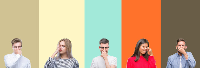 Collage of group of young people over colorful isolated background smelling something stinky and disgusting, intolerable smell, holding breath with fingers on nose. Bad smells concept.