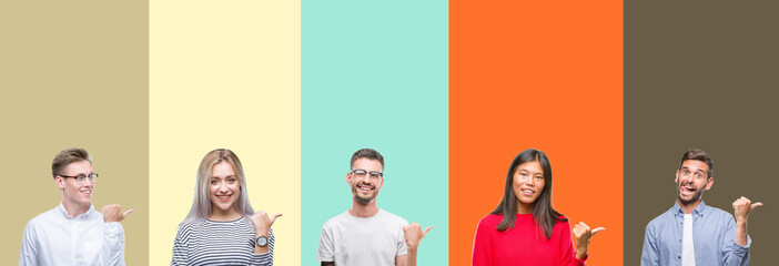 Collage of group of young people over colorful isolated background smiling with happy face looking and pointing to the side with thumb up.