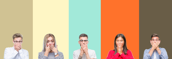 Collage of group of young people over colorful isolated background shocked covering mouth with hands for mistake. Secret concept.