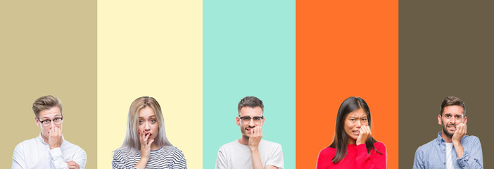 Collage of group of young people over colorful isolated background looking stressed and nervous with hands on mouth biting nails. Anxiety problem.