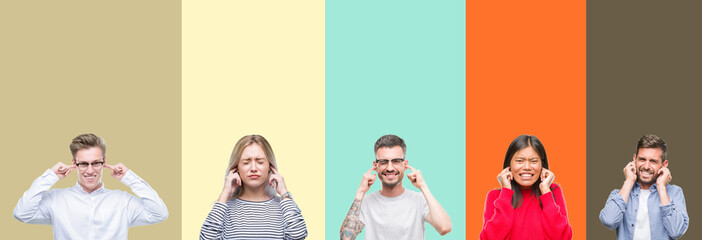 Collage of group of young people over colorful isolated background covering ears with fingers with annoyed expression for the noise of loud music. Deaf concept.