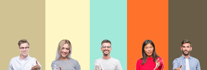 Collage of group of young people over colorful isolated background smiling friendly offering handshake as greeting and welcoming. Successful business.