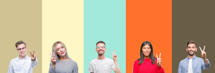 Collage of group of young people over colorful isolated background showing and pointing up with fingers number two while smiling confident and happy.