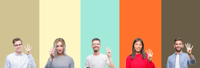Collage of group of young people over colorful isolated background showing and pointing up with fingers number four while smiling confident and happy.