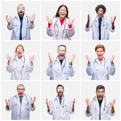 Collage of group of doctor people wearing stethoscope over isolated background celebrating crazy and amazed for success with arms raised and open eyes screaming excited. Winner concept