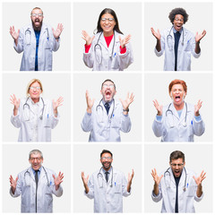 Collage of group of doctor people wearing stethoscope over isolated background celebrating mad and crazy for success with arms raised and closed eyes screaming excited. Winner concept