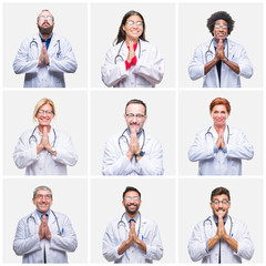 Collage of group of doctor people wearing stethoscope over isolated background praying with hands together asking for forgiveness smiling confident.