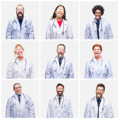 Collage of group of doctor people wearing stethoscope over isolated background sticking tongue out happy with funny expression. Emotion concept.