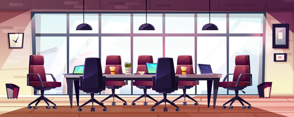 Business meeting room, company boardroom interiour cartoon vector with comfortable armchairs, laptops and coffee cups on long table illustration. Morning meeting, early briefing or informal event in
