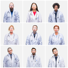Collage of group of doctor people wearing stethoscope over isolated background puffing cheeks with funny face. Mouth inflated with air, crazy expression.