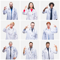 Collage of group of doctor people wearing stethoscope over isolated background smiling and confident gesturing with hand doing size sign with fingers while looking and the camera. Measure concept.