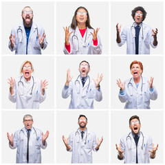 Collage of group of doctor people wearing stethoscope over isolated background crazy and mad shouting and yelling with aggressive expression and arms raised. Frustration concept.