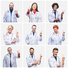 Collage of group of doctor people wearing stethoscope over isolated background smiling with happy face winking at the camera doing victory sign. Number two.