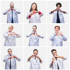 Collage of group of doctor people wearing stethoscope over isolated background smiling in love showing heart symbol and shape with hands. Romantic concept.