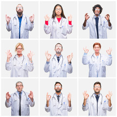 Collage of group of doctor people wearing stethoscope over isolated background relax and smiling with eyes closed doing meditation gesture with fingers. Yoga concept.