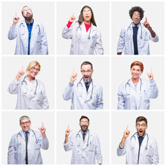 Collage of group of doctor people wearing stethoscope over isolated background pointing finger up with successful idea. Exited and happy. Number one.