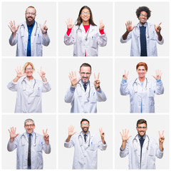 Collage of group of doctor people wearing stethoscope over isolated background showing and pointing up with fingers number seven while smiling confident and happy.