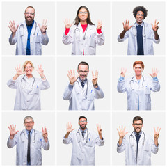 Collage of group of doctor people wearing stethoscope over isolated background showing and pointing up with fingers number eight while smiling confident and happy.