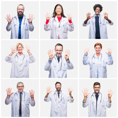 Collage of group of doctor people wearing stethoscope over isolated background showing and pointing up with fingers number nine while smiling confident and happy.